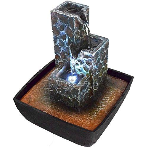 """Agora-Tec """"Kaskade"""" Jeu d'eau et fontaine d'intérieur avec pierres en forme de cascade avec éclairage LED, léger bruit d'eau très agréable, 21 cm de hauteur"""