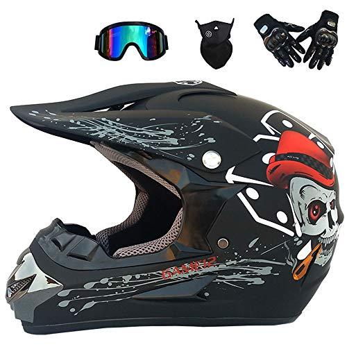 WMING Motocross Helm Beach Racing Helm Mountainbike Allround-Helm Erwachsene Männer Und Frauen (Handschuhe, Schutzbrillen, Masken, 4Er-Set),B,M