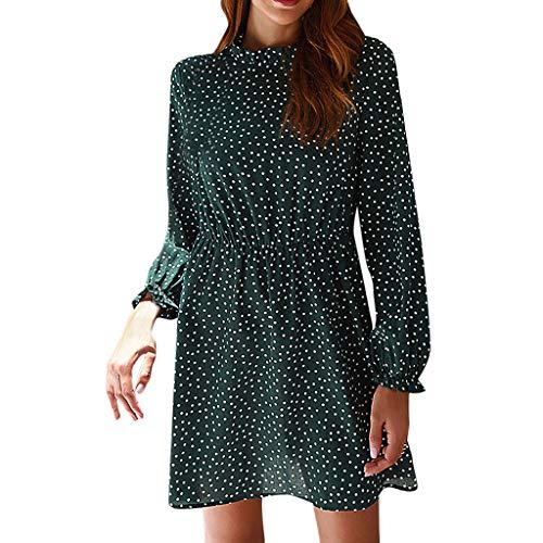 LILIGOD Damen Langarm Kurzes Kleid Mode Polka Dot Kleid Elegant Party Kleid drucken Rüschen Höhe Taille Langarm Kleid Reißverschluss Knielangen Kleid Einfarbig Herbst Cocktailkleid