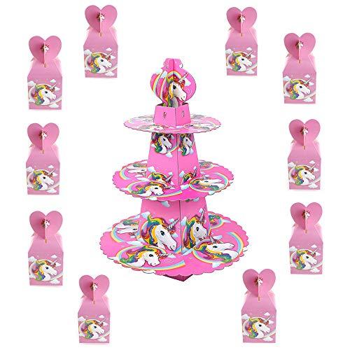 TRIXES 10 PIEZAS Cajas Regalos Unicornio para dulces y chocolate - y Soporte para Pastel 3 niveles Quesos y canapés - para cumpleaños fiestas de bienvenida al bebé- Color rosado