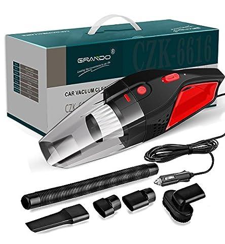 Aspirateur à main de voiture, Aspirateur humide / sec, 12 V, 120 W, Design noir / rouge
