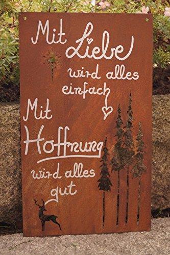 Edelrost Tafel mit Spruch 37 x 22 cm GedichttafelMit Liebe Wird Alles Einfach Wandtafel