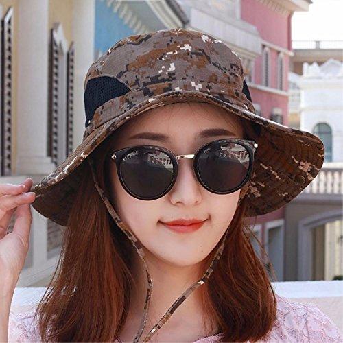 XINQING-mz Hut, männliche und weibliche Tarnung Sonnenschirm - Hut, der anglerhut, Outdoor - große Sonne der anglerhut, im frühling und Sommer zu Falten,Brown /
