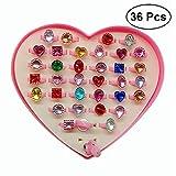 TOYMYTOY 36 Stück Ringset,einstellbare Ringe für Kindergeburtstag Party Geschenk Prinzessin Schmuck Ring Sparkle mit Herz Form Vitrine (zufällige Farbe)