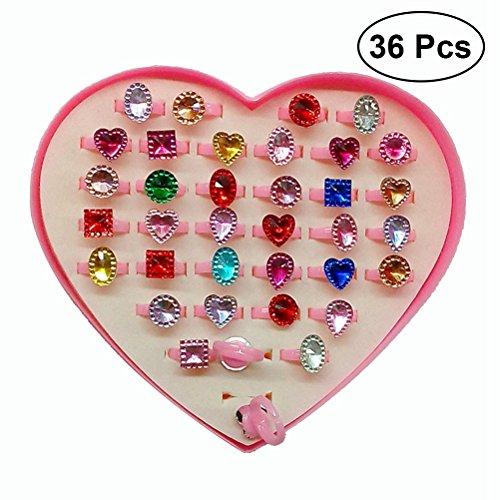 TOYMYTOY 36pcs anillos ajustables de las muchachas,anillo de la joyería de la...