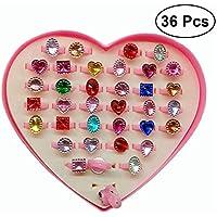 TOYMYTOY 36pcs anillos ajustables de las muchachas,anillo de la joyería de la princesa chispa