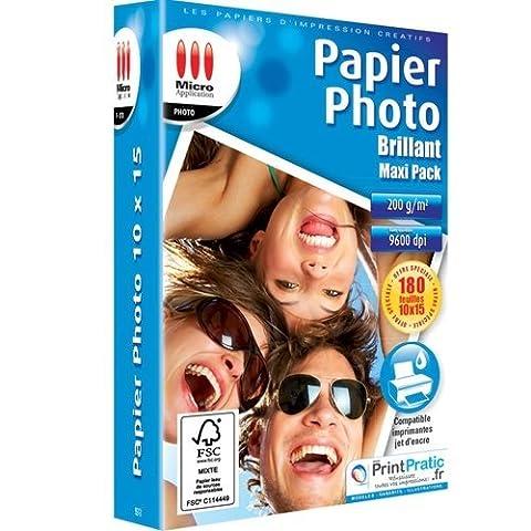 MICRO APPLICATION Lot de 180 Papiers photo brillant 10 x
