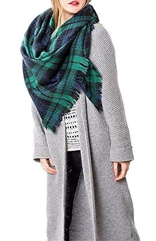 Zando Soft Warm Tartan Plaid Scarf Shawl Cape Blanket Scarves Fashion Wrap Green