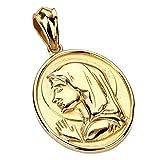 BOBIJOO Jewelry - Grand Pendentif Médaillon Sainte Vierge Marie Oval  Auréole Acier Inoxydable Or 6c9d640bee8