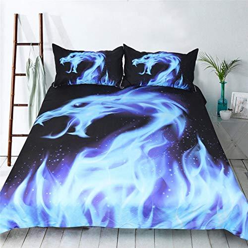 JSDJSUIT Bettwäsche-Set 3D Blue Flame Dragon Bettwäsche Bettbezug Set Bettbezug Kissenbezüge 3 STÜCKE, EU König 3 stücke - König 3 Stück Bettbezug
