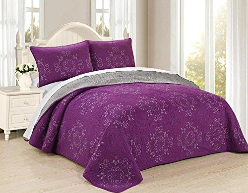 All American Collection New 6Circle wendbar bestickt Tagesdecke/Quilt Set, Polyester-Mischgewebe, violett, Queen 3pc