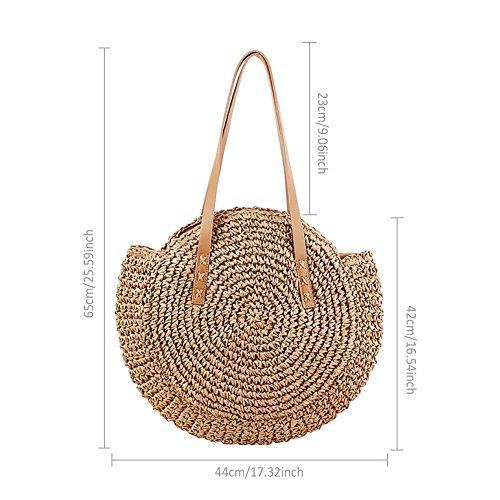 Preisvergleich Produktbild Runde Stroh Strandtasche Sommer Tasche Crossbody Damen Modetrends Handgewebte Tasche,  Umhängetasche Crossbody Tasche im Freien