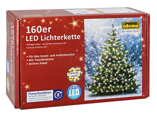 Idena 8325062 Guirlande lumineuse 160 LED Extérieur Lumière blanche chaude