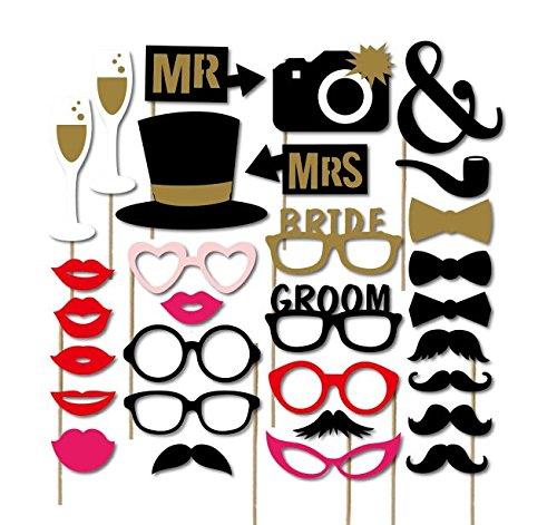 torequisiten Hochzeit Party Requisiten Fotoautomat Auf Stöcken DIY lustiger Schnurrbart, Hüte, Gläser, Herr Frau für Hochzeit, Geburtstag, Weihnachten, Staffelung (Schnurrbart Und Gläser)