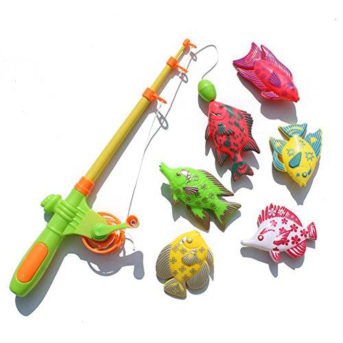 zeug Set magnetisch Spaß Zeit Angelspiel mit 1 Angelrute und 6 niedlichen Fischen für Kinder zufällige Farbe Halloween Taschen für Kinder ()