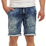 Urban Surface Herren Jogg Jeans Shorts LUS-117 Kurze Sommer Hose d.Blue II W33