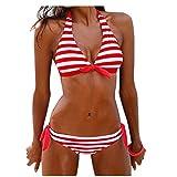 Elecenty Damen Badeanzug Bademode,Badebekleidung Sandywear Streifen Strandkleidung Push Up Reizvolle Frauen Neckholder Bikinioberteil Bikinioberteil BH Briefs Bikini Sets Strandmode (XL, Rot)