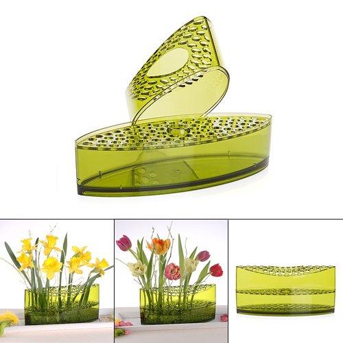 Vase zum Dekorieren/Basteln für Gestecke oder als Kerzenständer aus Acryl-Glas (Grün)