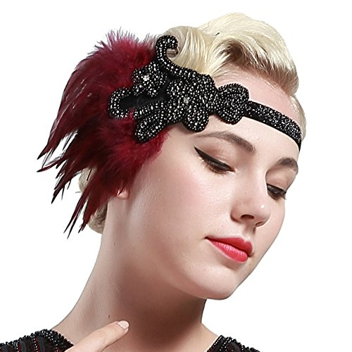 BABEYOND 1920s Feder Stirnband Retro 20er Jahre Haarband Flapper Stirnband Damen Great Gatsby Kostüm (1920er Jahre Red Flapper Kostüm)