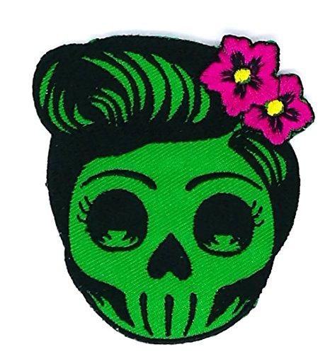 Flower Sugar Skull (grün) Tag der Toten Lady Rider Patch ideal für schmücken Ihre Jeans, Hüte, Taschen, Jacken und Shirts (Tote Patch Flower)