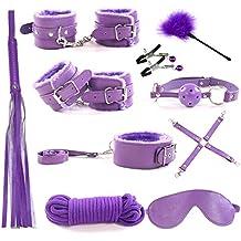 RianGor 10 pzs Kit Bondage de Cuero Set Esposas Whip Rope Mask Collar Bondage Set para Pareja (Violeta)