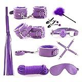 RianGor 10 pcs Leather Bondage Kit Set Handcuffs Whip Rope Mask Collar Bondage Set for Couple (Purple)