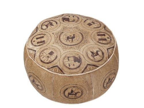 Orientalisches Sitzkissen / Bodenkissen / Fußhocker echt Leder marokkanische Handarbeit aufwendige Prägungen. . Ø ca. 60 cm Höhe ca.38cm