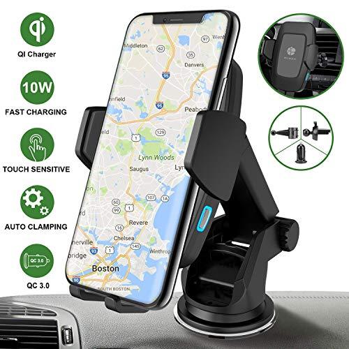 Caricabatterie Auto Wireless Caricatore Wireless Auto Quick Charge QC3.0 [USB C]+ Rotazione a 360° + Sensore Automatico, 7.5W per iPhone XS Max XR X 8, 10W per Samsung Galaxy S10 S9 S8 S7 Note 9/8