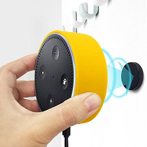 Halterung Wandhalterung für Dot 2, mit Universal Halterung Magnet und Kfz Halterung Magnet Lüftung für Dot und Smartphone von Kiwi Design (Silikon, Gelb)