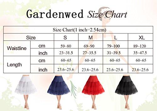 Gardenwed Annata 1950s Donna Sottogonne al Ginocchio Retro Petticoats Vintage Rockabilly Mini Gonne Grey