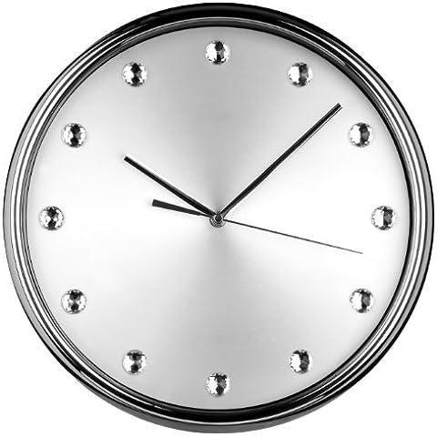Premiere Housewares 2200603 Orologio da Parete con Diamantes, Acciaio Inox, Argento