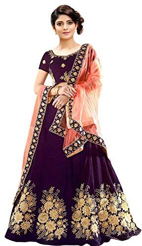 Pd Cloth Villa Women\'s Silk Semi-Stitched Lehenga Choli(Free Size-Purple)