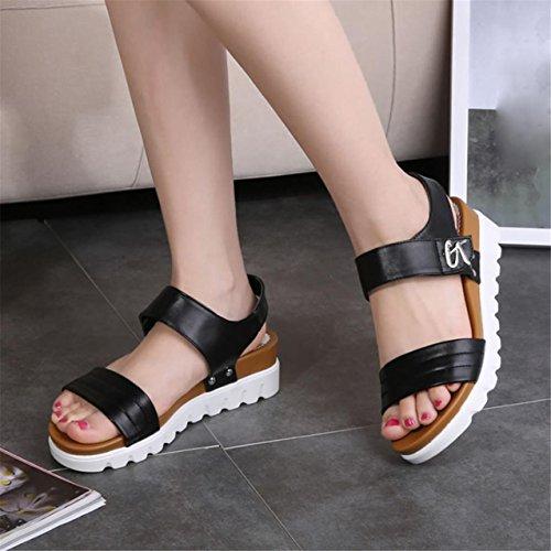 LHWY Damen Sandalen Frauen im Alter flach Fashion Sandalen bequeme Damen Schuhe Schwarz