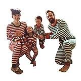 LvRao Mamma papà Neonato Bambino Morbido Confortevole Famiglia Pigiama di Natale a Strisce (Rosso #Mamma, CN M)
