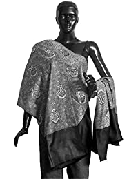 DollsofIndia Grey with Black Reversible Woolen Shawl - 37 x 80 inches (OP43)