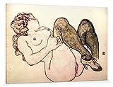 1art1 114805 Egon Schiele - Akt Mit Grünen Strümpfen, 1918 Poster Leinwandbild Auf Keilrahmen 180 x 120 cm