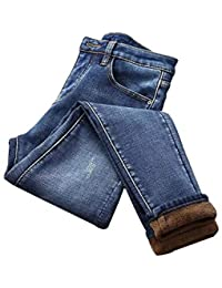 Fnsky Jeans delgados para mujer, de invierno, de terciopelo cálido, de cintura alta, con forro de felpa, pantalones de mezclilla elásticos para mujeres y niñas