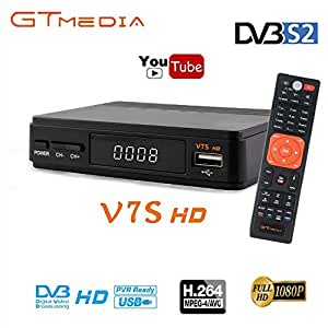 GT MEDIA V7S HD Satellite Receiver FTA DVB S2 Sat Finder Set Top Box Full HD 1080p Support PVR, Newcam, Youtube, PowerVu, Dre & Biss Key via USB Wifi Dongle