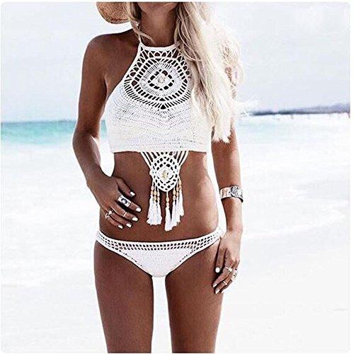 Bekleidung Longra Damen Böhmische handgefertigt gestrickte Split Badeanzüge Bikini-Sets Bademode Swimsuit Strandkleidung gesäumt White
