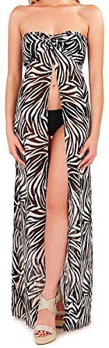 Damen Schwarz / weiß Zebra Animal Print Streifen lange Chiffon vorne Split über Bikini Badeanzug Kleid große vertuschen (Print-zebra-bikini)