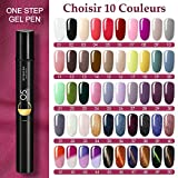 [Choisir 10 Couleurs] Saint-Acior 10pc Stylo Vernis à ongles One Step Gel 3 en 1 Gel Pen Vernis Semi Permanent Température Changement Yeux de Chat UV LED Gel Sans Base Coat Top Coat Besoin Nail Art