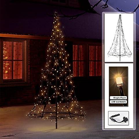 Sapin de Noël artificiel lumineux 1,85 m 250 LED blanc chaud avec Single flash de Fairybell
