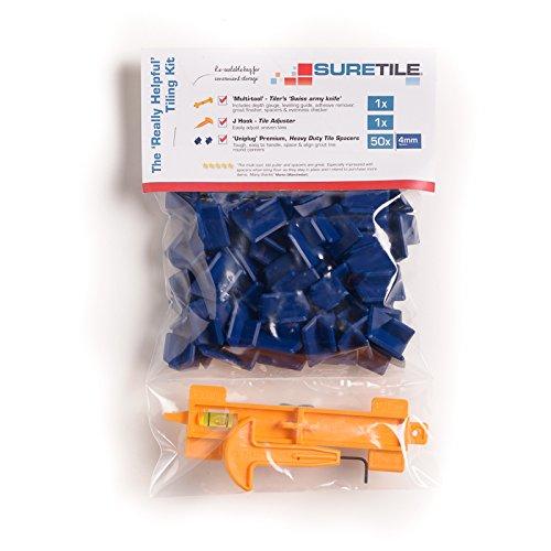 Suretile Uniplug Kit de croisillons auto-nivelant pour carrelage Haute qualité, résistants et réutilisables Espacent et alignent les coins de votre carrelage Le kit inclut un outil multifonction unique et le crochet en J pour ajuster/soulever le carrelage Bleu de 50 x 4 mm