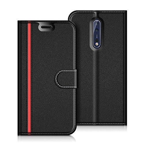 COODIO Handyhülle für Nokia 8 Handy Hülle, Nokia 8 Hülle Leder Handytasche für Nokia 8 Version 2017 Klapphülle Tasche, Schwarz/Rot