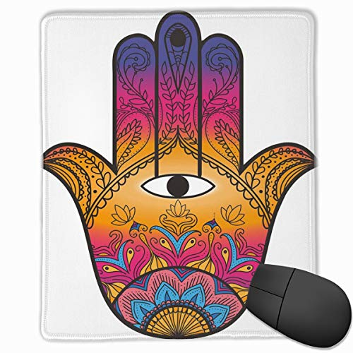 Mouse Mat Stitched Edges, Colorful Ethnic Pattern Henna Tattoo Art Lotus Flowers Arabesque Mystical,Gaming Mouse Pad Non-Slip Rubber Base (Colorful Flower Tattoos)