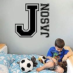 Lettre Motif Vinyle Mur Applique Garçon Fille Enfant Chambre de Bébé Décoration Murale Décoration Murale Papier Peint Gris 42x42cm