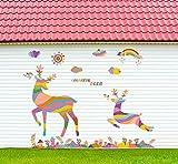 CczxfccAdesivi Da Parete Cervi Volanti Colorati Arcobaleno Foresta Da Salotto Vetrina Da Esposizione Vetrine Impermeabili In Pvc