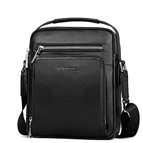 Padieoe Leather Messenger Bag for Men Handbags Cross Body Shoulder Bags for Men, Black Litchi Grain 100% Genuine Leather
