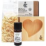Alpine Naturprodukte Herz Duft Geschenke Set: Zirbenöl 10ml - 100% Naturein + Zirbenflocken + Zirbenholzherz