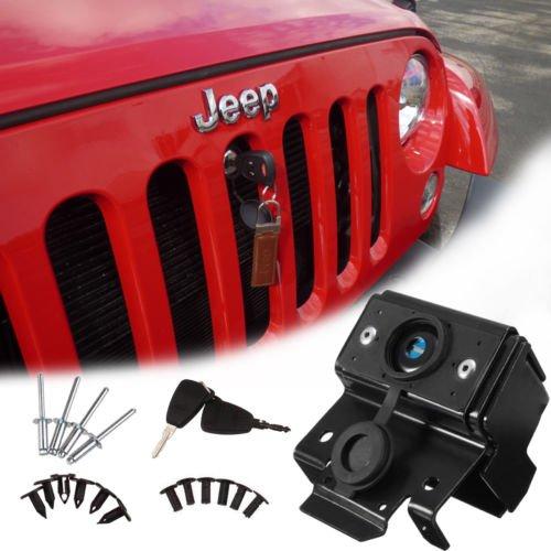 Preisvergleich Produktbild Zantec Sicherheit Kapuze Lock-Kit Motor Diebstahlschutz Set für 07–18 Jeep Wrangler